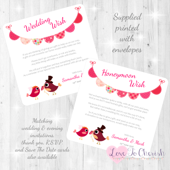 Bride & Groom Cute Love Birds & Bunting Dark Pink Honeymoon & Wedding Wish Cards