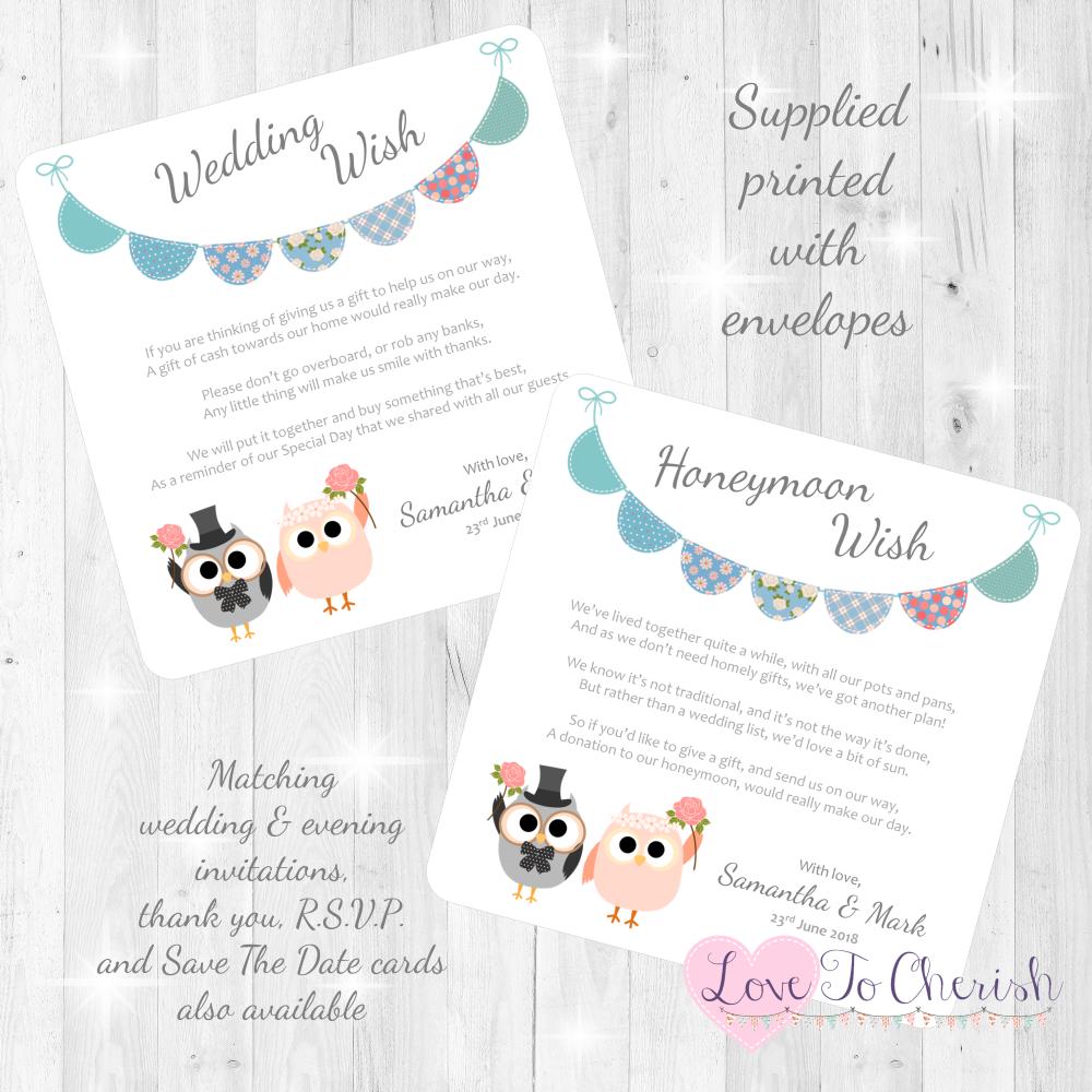 Bride & Groom Cute Owls & Bunting Green/Blue Honeymoon & Wedding Wish Cards