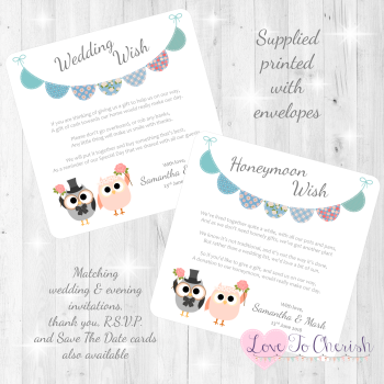 Bride & Groom Cute Owls & Bunting Green/Blue Honeymoon & Wedding Wish Cards
