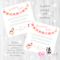 Bride & Groom Cute Owls & Bunting Peach Honeymoon & Wedding Wish Cards