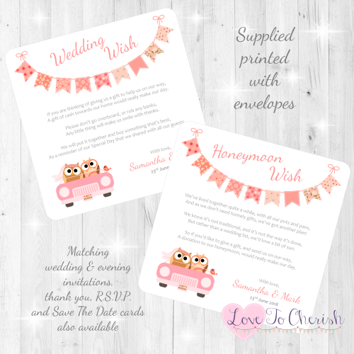 Bride & Groom Cute Owls in Car Peach Honeymoon & Wedding Wish Cards