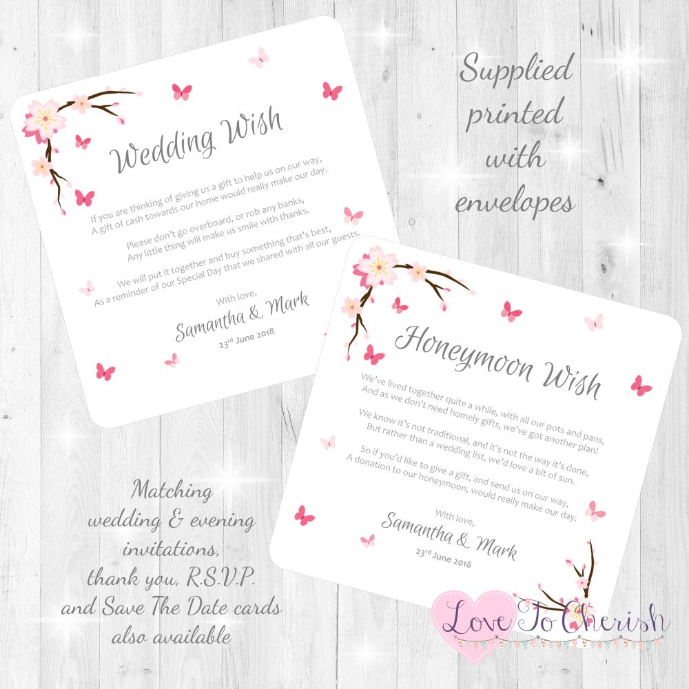 Cherry Blossom & Butterflies Honeymoon & Wedding Wish Cards