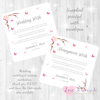 Cherry Blossom & Butterflies Honeymoon & Wedding Wish Cards