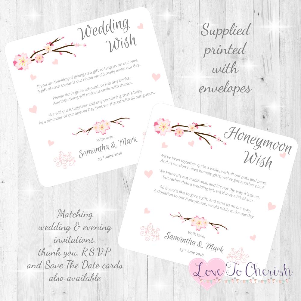 Cherry Blossom & Pink Hearts Honeymoon & Wedding Wish Cards