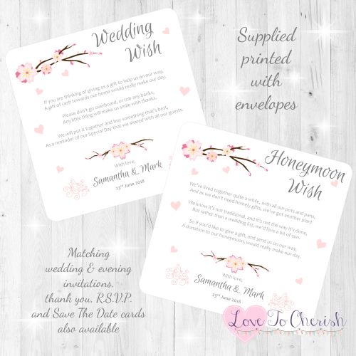 Cherry Blossom & Pink Hearts Honeymoon & Wedding Wish Cards
