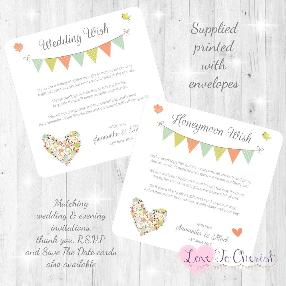 Shabby Chic Flower Heart & Bunting Honeymoon & Wedding Wish Cards