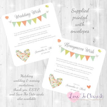 Shabby Chic Flower Heart & Bunting Honeymoon & Wedding Wish Cards