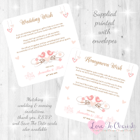 Shabby Chic Hanging Hearts & Love Birds Honeymoon & Wedding Wish Cards