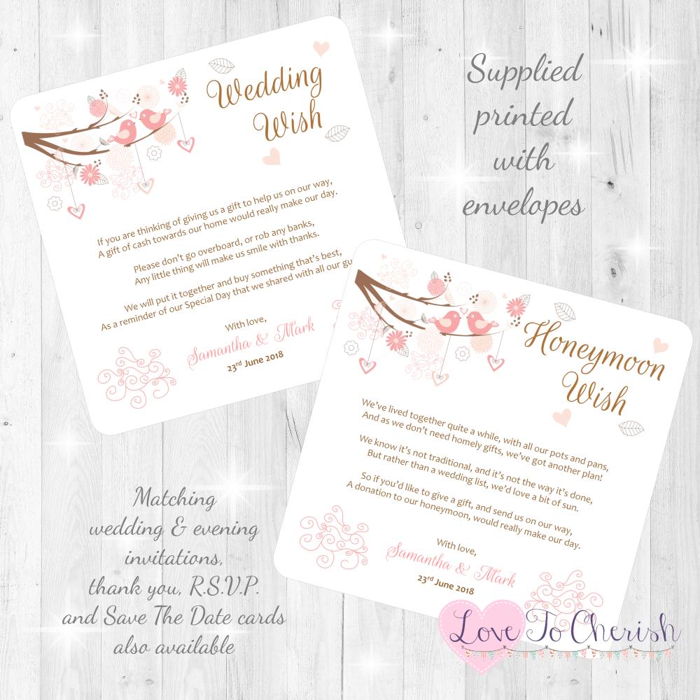 Shabby Chic Hearts & Love Birds in Tree Honeymoon & Wedding Wish Cards