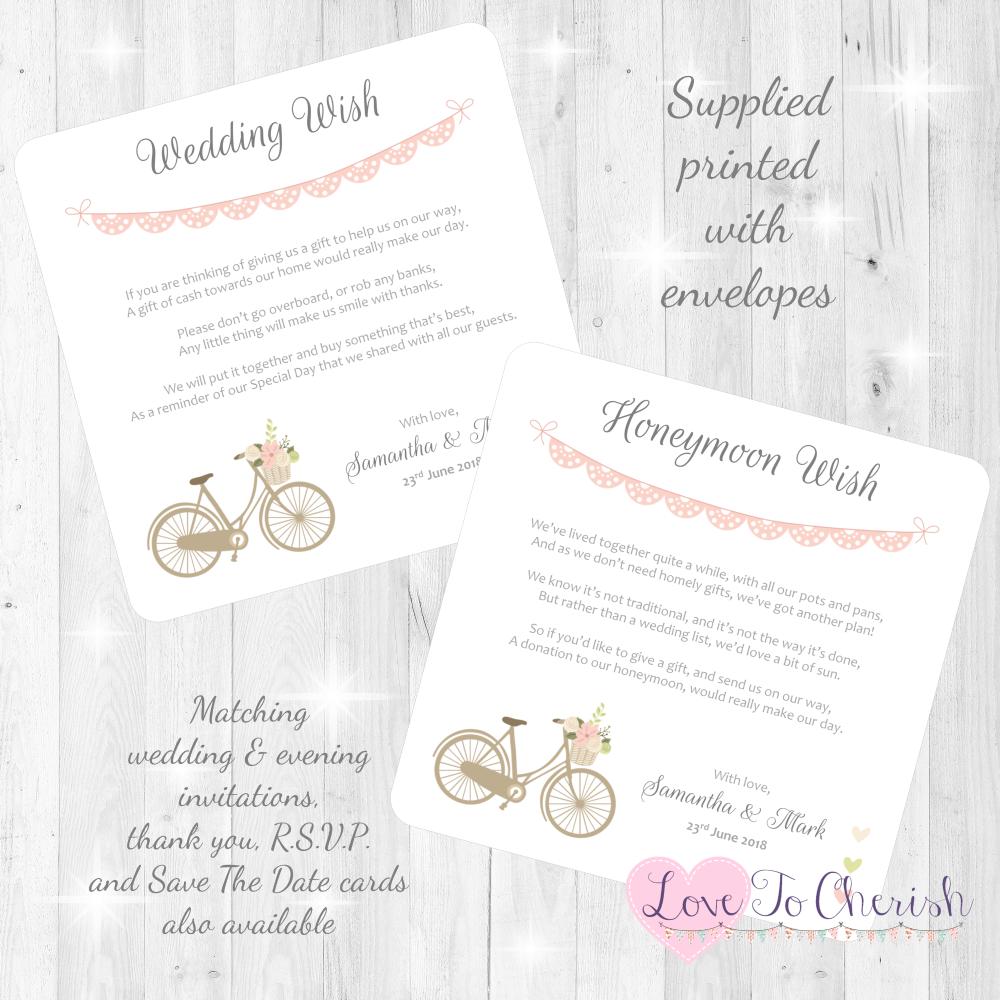 Vintage Bike/Bicycle Shabby Chic Pink Lace Bunting Honeymoon & Wedding Wish