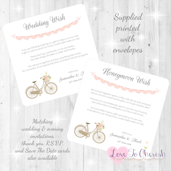 Vintage Bike/Bicycle Shabby Chic Pink Lace Bunting Honeymoon & Wedding Wish Cards