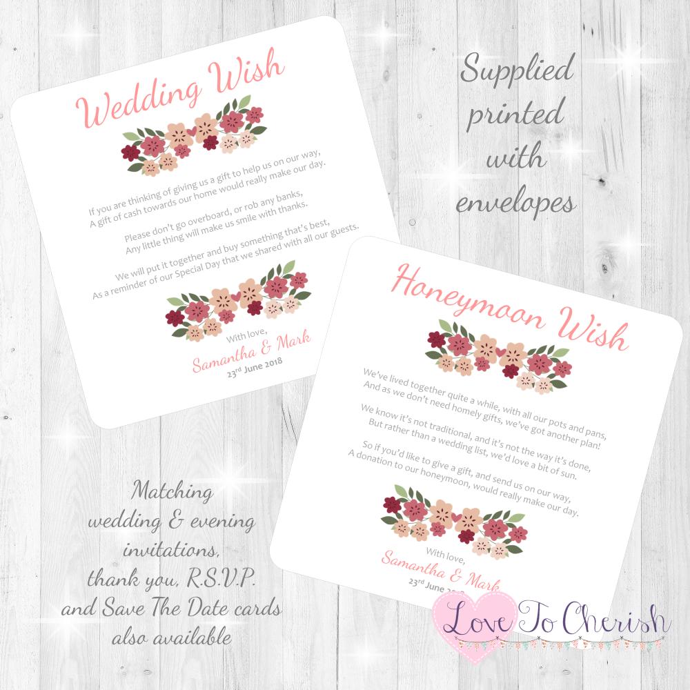 Vintage Floral/Shabby Chic Flowers Honeymoon & Wedding Wish Cards