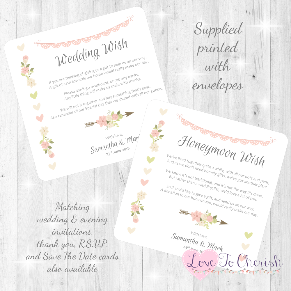 Vintage Flowers & Hearts Honeymoon & Wedding Wish Cards