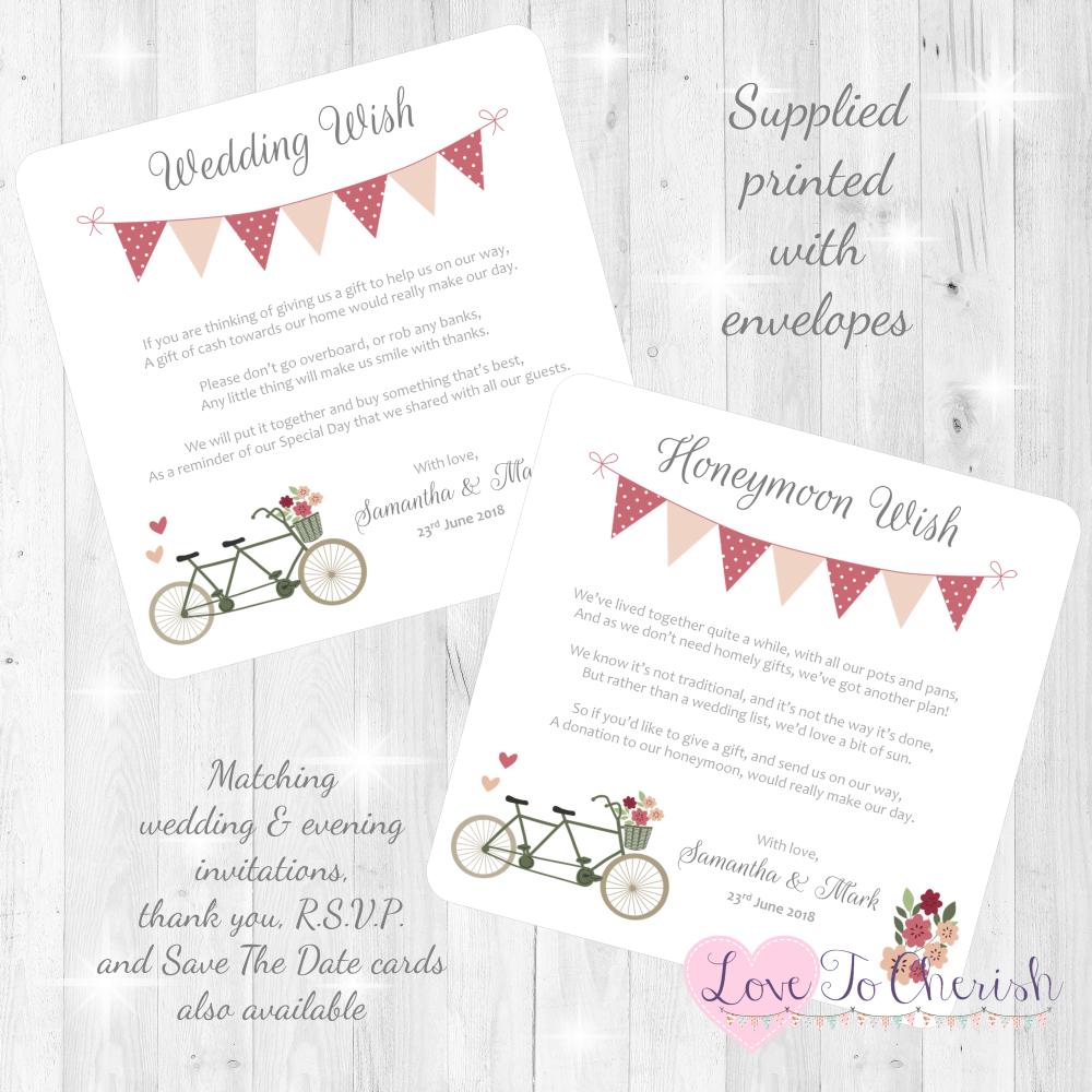 Vintage Tandem Bike/Bicycle Shabby Chic Honeymoon & Wedding Wish Cards