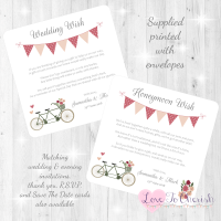 Vintage Tandem Bike/Bicycle Shabby Chic Honeymoon & Wedding Wish Cards