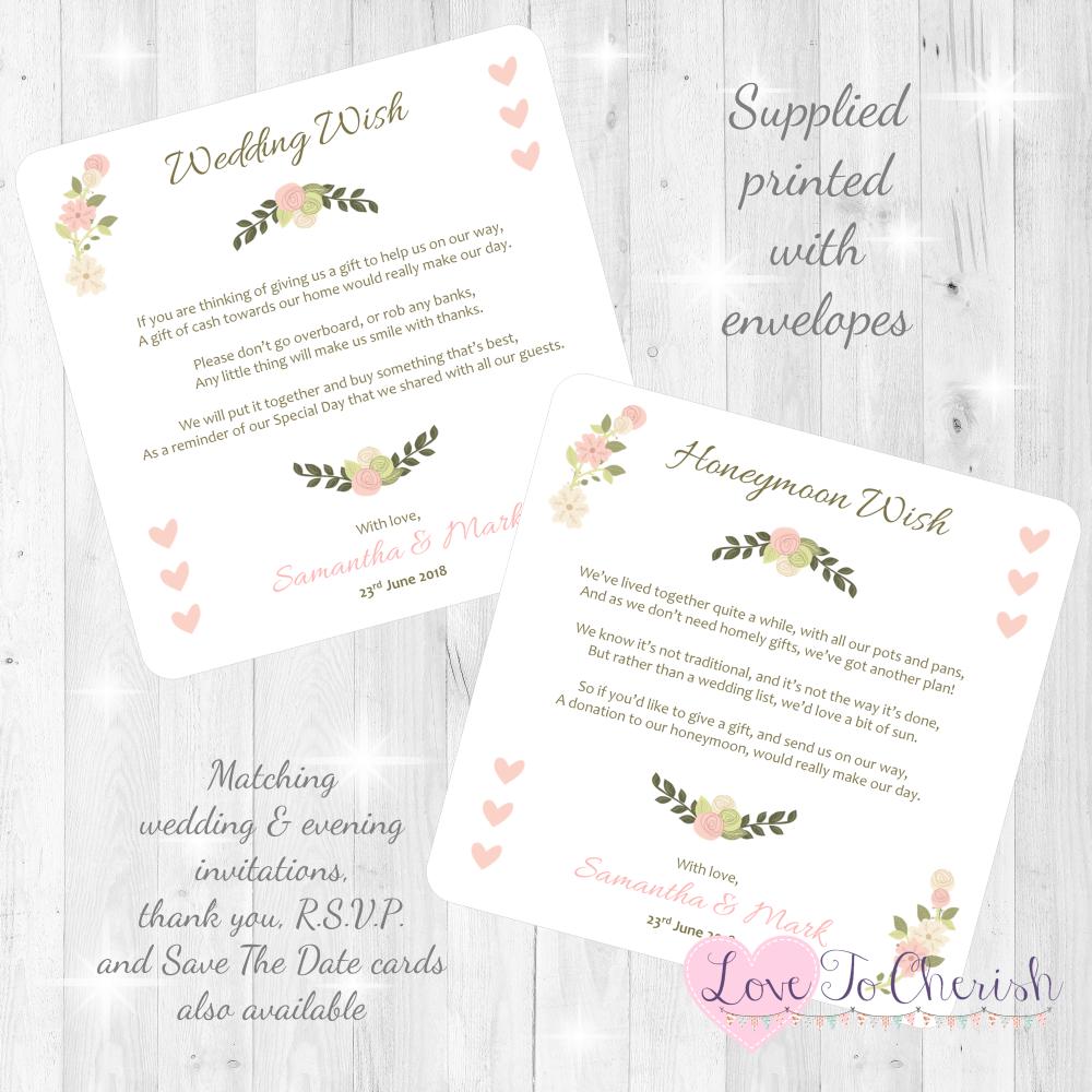 Vintage/Shabby Chic Flowers & Pink Hearts Honeymoon & Wedding Wish Cards