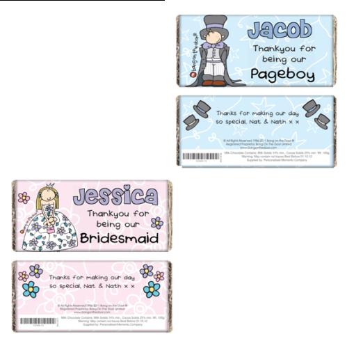 Bang On The Door Personalised Wedding Girl's or Boy's Milk Chocolate Bar