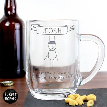 Purple Ronnie Personalised Male Top Hat Wedding Glass Tankard