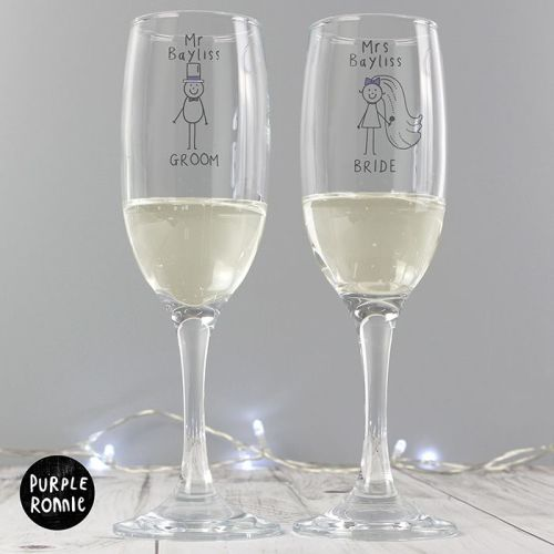 Purple Ronnie Personalised Mr & Mrs Wedding Flutes with Gift Box
