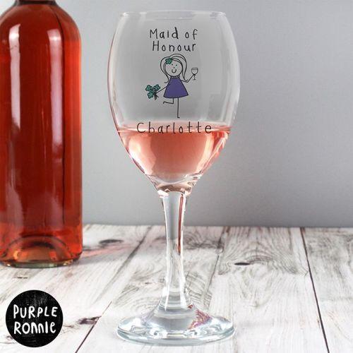 Purple Ronnie Personalised Female Wedding Wine Glass
