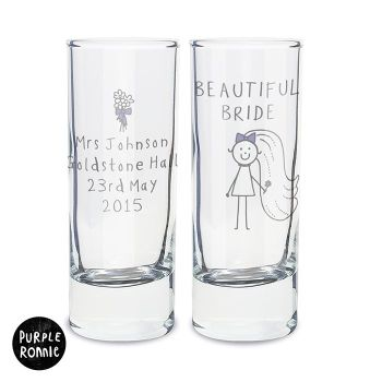 Purple Ronnie Personalised Bride Wedding Shot Glass