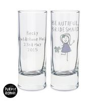 Purple Ronnie Personalised Female Wedding Shot Glass