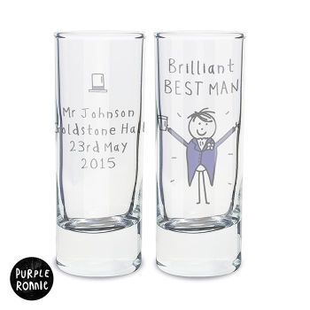 Purple Ronnie Personalised Male Wedding Shot Glass
