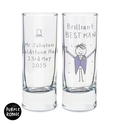 Purple Ronnie Personalised Male Wedding Shot Glass