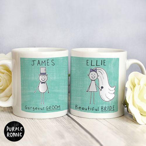 Purple Ronnie Personalised Bride & Groom Wedding Mug Set