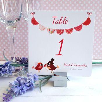 Bride & Groom Cute Love Birds & Bunting Dark Pink Table Numbers or Names