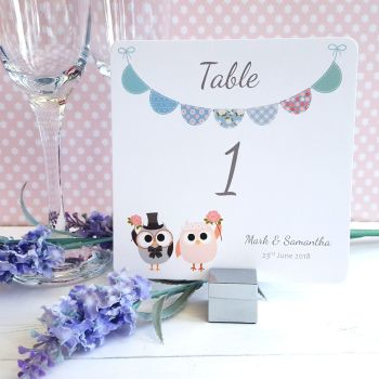 Bride & Groom Cute Owls & Bunting Green/Blue Table Numbers or Names
