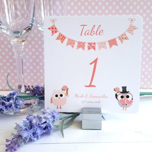 Bride & Groom Cute Owls & Bunting Peach  Table Numbers or Names