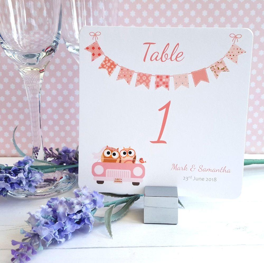 Bride & Groom Cute Owls in Car Peach  Table Numbers or Names