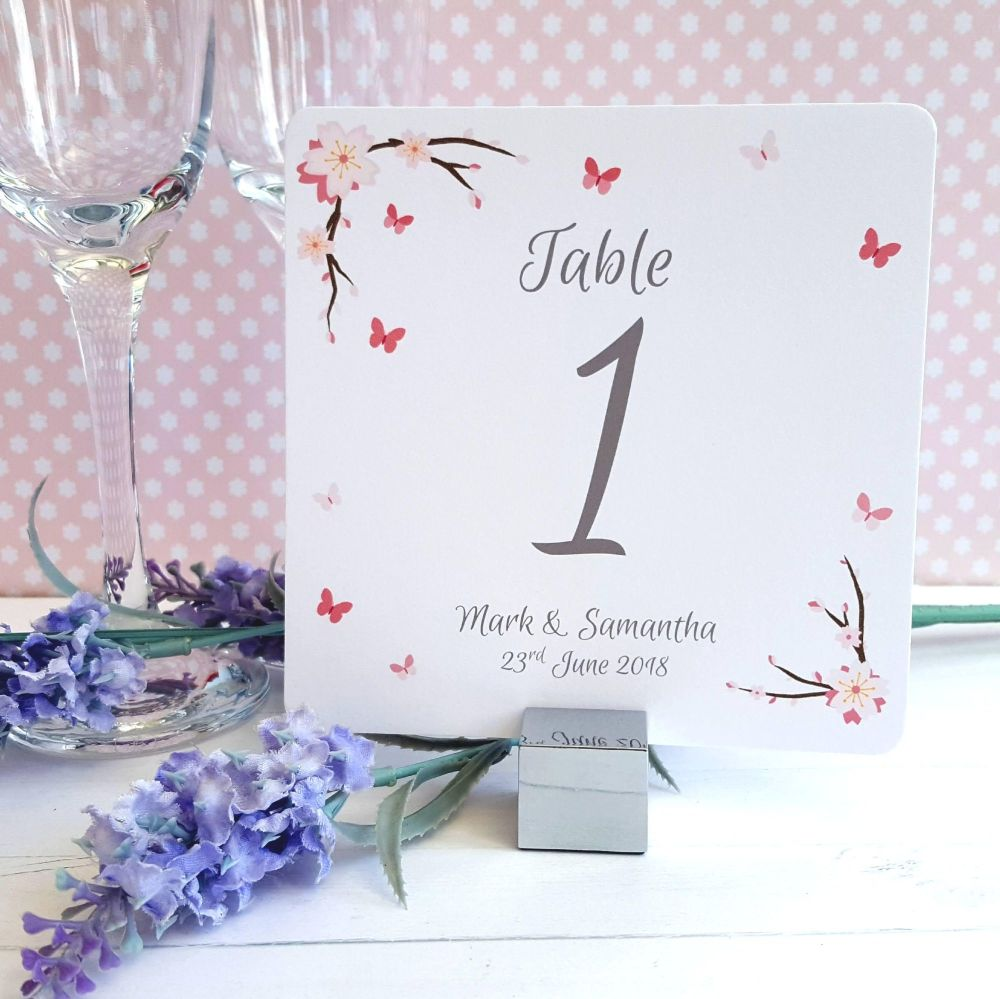 Cherry Blossom & Butterflies Table Numbers or Names