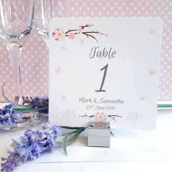 Cherry Blossom & Pink Hearts Table Numbers or Names