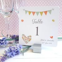Shabby Chic Flower Heart & Bunting Table Numbers or Names