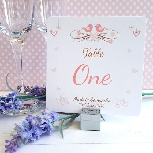 Shabby Chic Hanging Hearts & Love Birds Table Numbers or Names