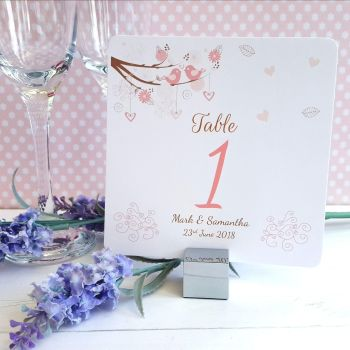 Shabby Chic Hearts & Love Birds in Tree Table Numbers or Names