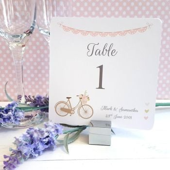Vintage Bike/Bicycle Shabby Chic Pink Lace Bunting Table Numbers or Names
