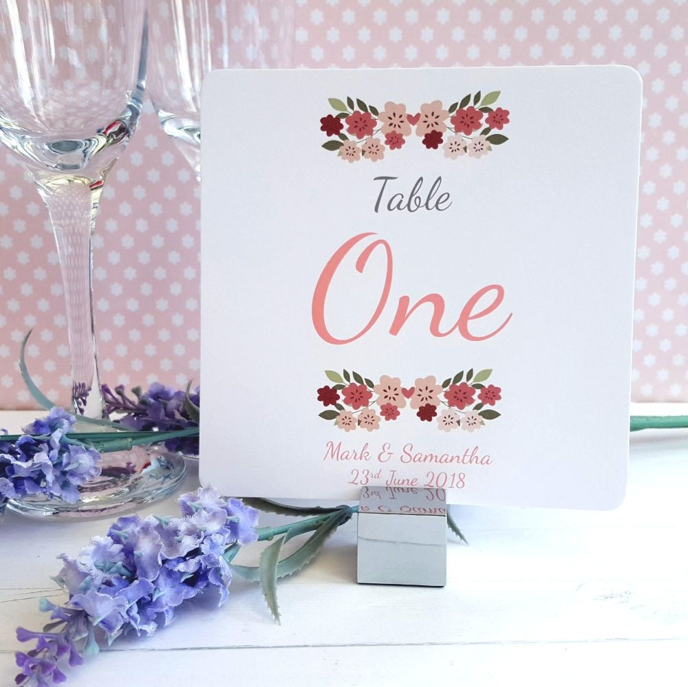 Vintage Floral/Shabby Chic Flowers Table Numbers or Names