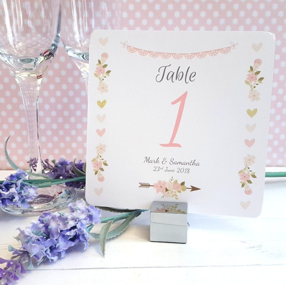 Vintage Flowers & Hearts Table Numbers or Names