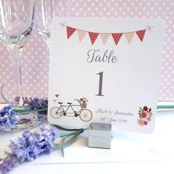 Vintage Tandem Bike/Bicycle Shabby Chic Table Numbers or Names