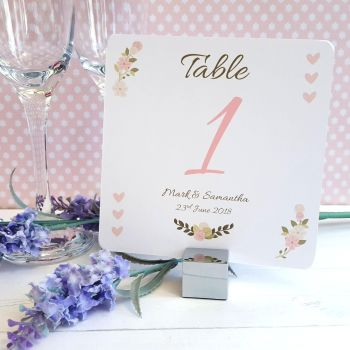 Vintage/Shabby Chic Flowers & Pink Hearts Table Numbers or Names