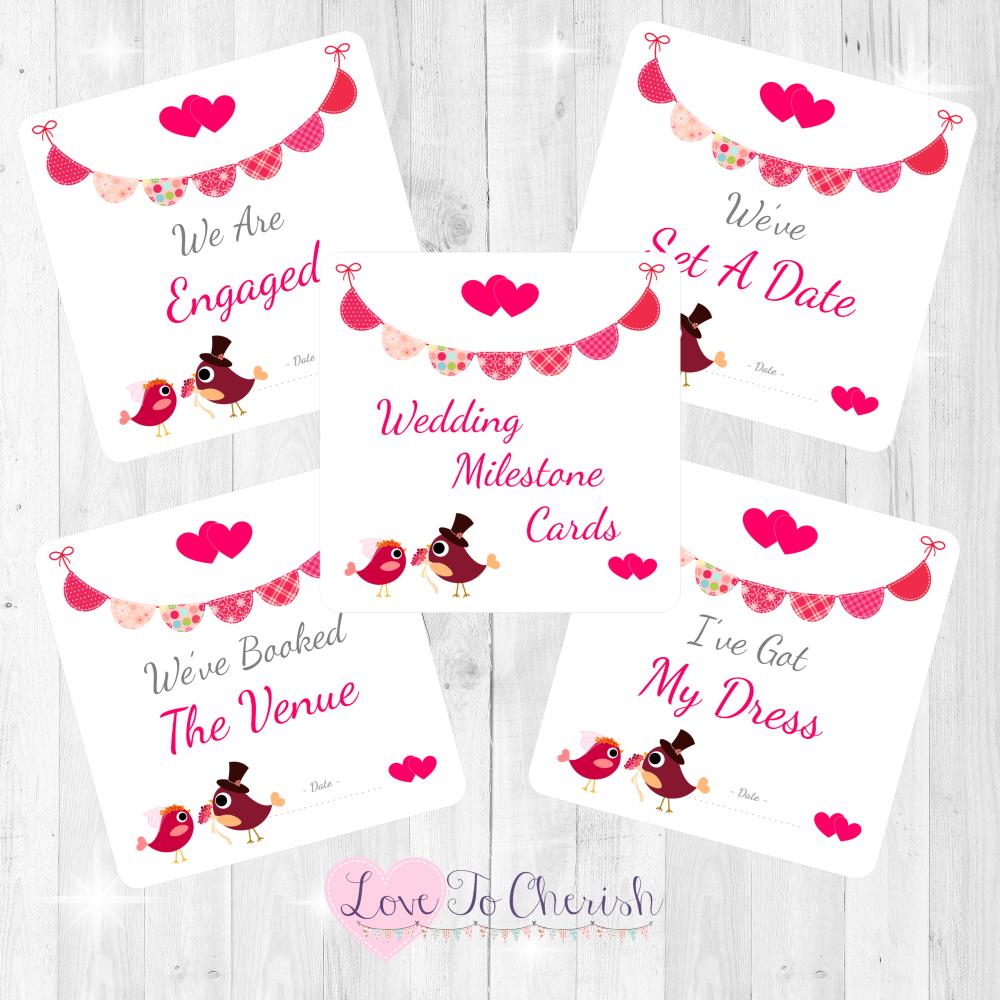 Bride & Groom Cute Love Birds & Bunting Dark Pink Wedding Milestone/Journey