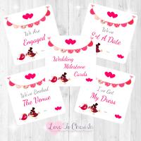 Bride & Groom Cute Love Birds & Bunting Dark Pink Wedding Milestone/Journey Cards