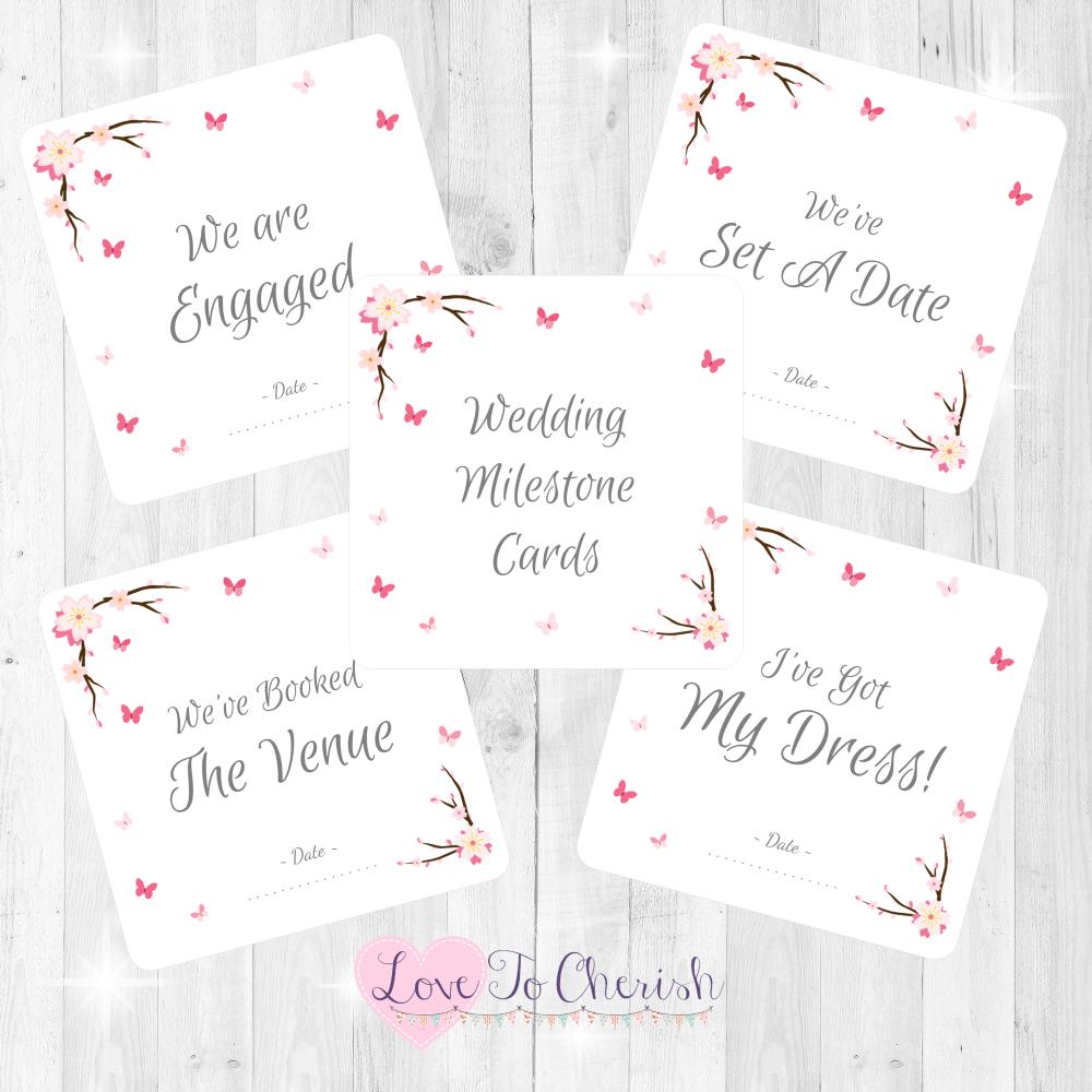 Cherry Blossom & Butterflies Wedding Milestone/Journey Cards