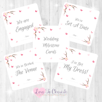 Cherry Blossom & Butterflies Wedding Milestone/Journey Cards