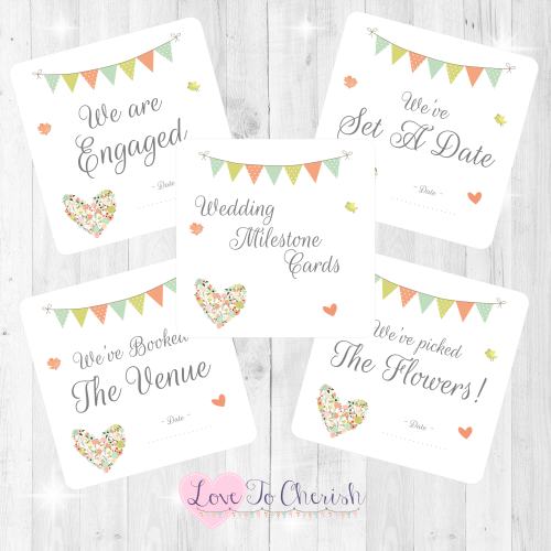 Shabby Chic Flower Heart & Bunting Wedding Milestone/Journey Cards