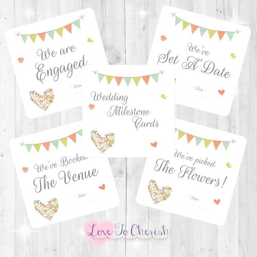 Shabby Chic Flower Heart & Bunting Wedding Milestone/Journey Cards