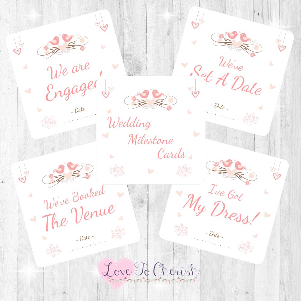 Shabby Chic Hanging Hearts & Love Birds Wedding Milestone/Journey Cards